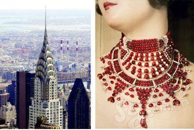 左图:建于上世纪20年代的美国克莱斯勒大厦是art deco的集高清图片